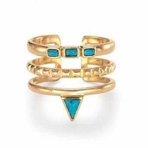 STELLA & DOT TURQUOISE STONE STACKED RING